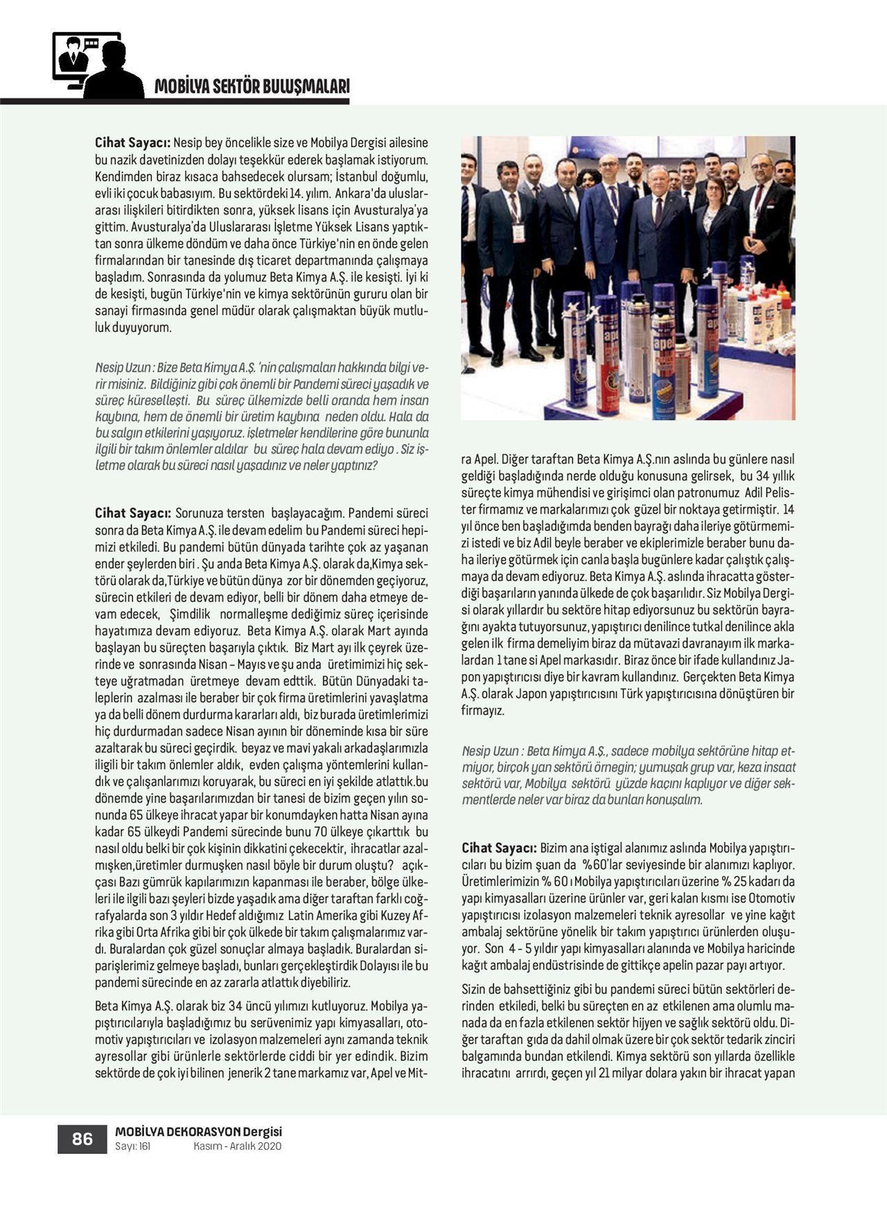 Beta Kimya A.Ş. dergi